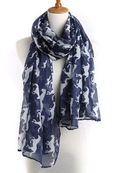 Navy Blue Modern Womens Horse Pony Voile Animal Print Scarf