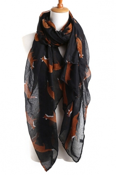 Black Chic Ladies Cartoon Fox Voile Animal Print Scarf