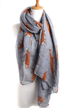 Gray Chic Ladies Cartoon Fox Voile Animal Print Scarf