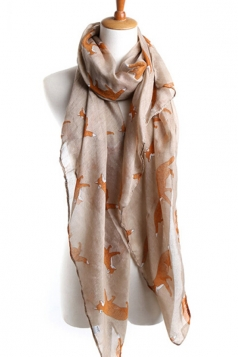 Khaki Chic Ladies Cartoon Fox Voile Animal Print Scarf