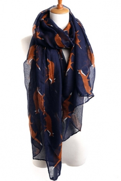 Navy Blue Chic Ladies Cartoon Fox Voile Animal Print Scarf