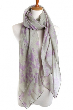 Gray Elegant Womens Voile Butterfly Animal Print Scarf