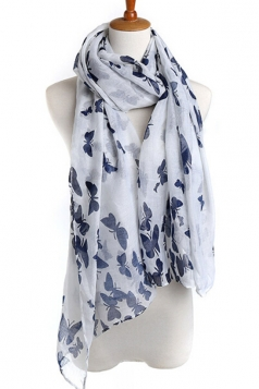 White Elegant Womens Voile Butterfly Animal Print Scarf