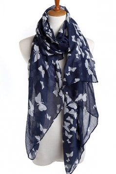 Navy Blue Elegant Womens Voile Butterfly Animal Print Scarf