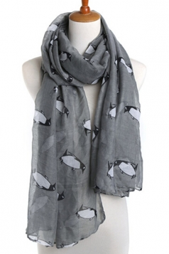Gray Fashion Ladies Voile Penguin Animal Print Scarf
