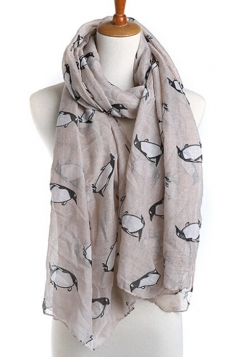 Khaki Fashion Ladies Voile Penguin Animal Print Scarf