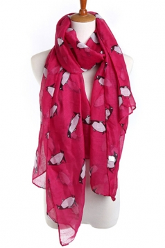 Rose Red Fashion Ladies Voile Penguin Animal Print Scarf