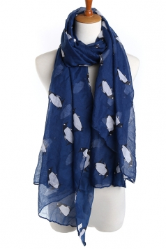 Navy Blue Fashion Ladies Voile Penguin Animal Print Scarf