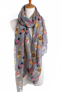 Gray Pretty Womens Dog in Clothes Voile Animal Print Scarf