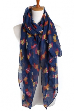 Navy Blue Pretty Womens Dog in Clothes Voile Animal Print Scarf