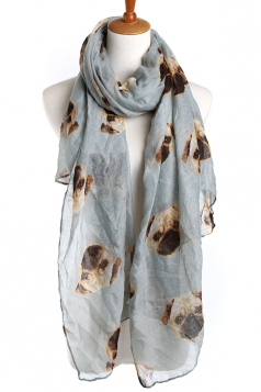 Gray Trendy Ladies Pug Voile Animal Print Scarf