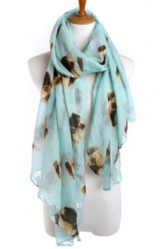 Turquoise Trendy Ladies Pug Voile Animal Print Scarf