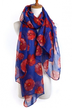 Blue Beautiful Womens Voile Flower Printed Floral Scarf