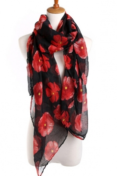 Black Beautiful Womens Voile Flower Printed Floral Scarf