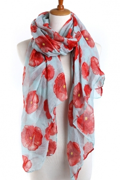 Turquoise Beautiful Womens Voile Flower Printed Floral Scarf
