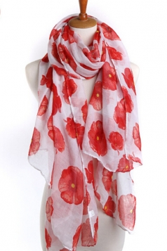 White Beautiful Womens Voile Flower Printed Floral Scarf