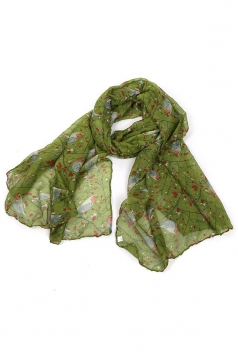 Green Trendy Womens Voile Bird Printed Floral Scarf