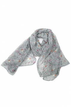 Gray Trendy Womens Voile Bird Printed Floral Scarf