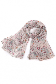 Pink Trendy Womens Voile Bird Printed Floral Scarf