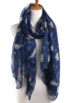 Navy Blue Trendy Womens Voile Bird Printed Floral Scarf