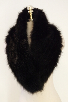 Black Faux Fur Plain Womens Fashion Scarf