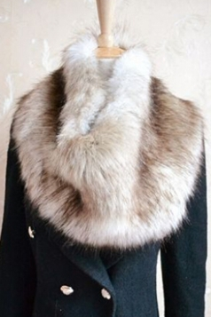Khaki Ladies Faux Fur Plain Chic Scarf