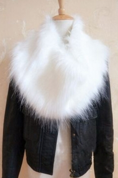White Ladies Faux Fur Plain Chic Scarf