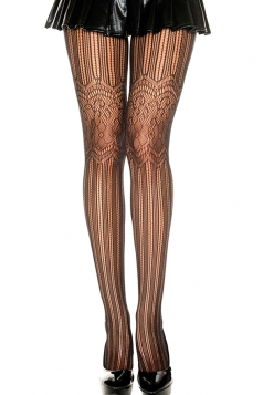 Black Sexy Ladies Lace Flower Pattern Sheer Tights