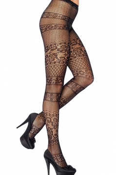 Black Cool Ladies Jacquard Weave Sheer Lace Tights