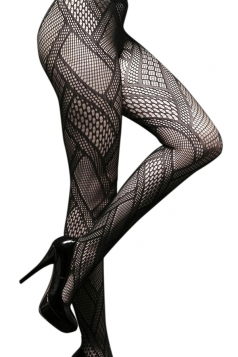 Black Retro Womens Sheer Fishnet Cut Out Tights