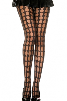 Black Womens Cut Out Polka Dot Pattern See Through Tights