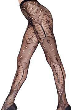 Black Ladies Sheer Cut Out Pattern Collage Tights