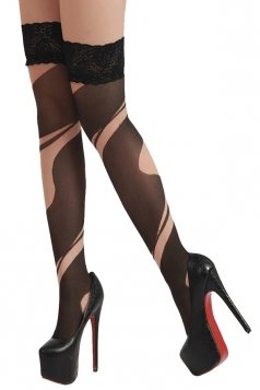 Black Trendy Womens Color Block Lace Tattoo Stockings