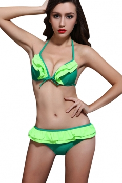Green Sexy String Halter Bikini Top & Ruffle Swimsuit Bottom