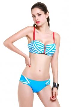 Blue Charming Womens Stripe Zipper Skirted Swimsuit