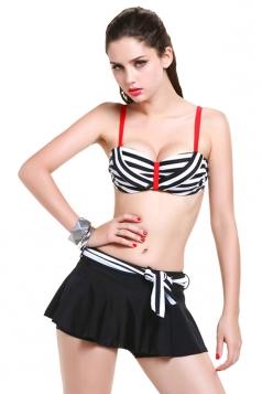 Black Charming Womens Stripe Zipper Skirted Swimsuit