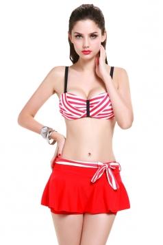 Red Charming Womens Stripe Zipper Skirted Swimsuit