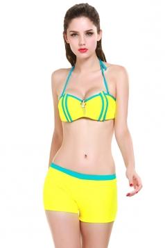 Yellow Charming Ladies Color Block Halter Tankini