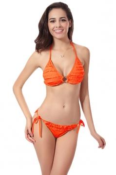 Orange Charming Womens Halter String Ruffle Bikini