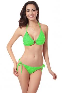 Green Charming Womens Halter String Ruffle Bikini