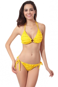 Yellow Charming Womens Halter String Ruffle Bikini