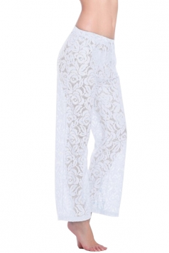 White Sexy Ladies Lace Sheer Cut Out Beach Pants Sarong
