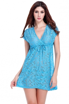 Blue Ladies V Neck Short Sleeve Lace Sheer Plain Beach Dress