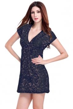 Black Ladies V Neck Short Sleeve Lace Sheer Plain Beach Dress
