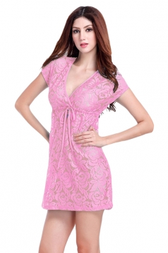 Pink Ladies V Neck Short Sleeve Lace Sheer Plain Beach Dress