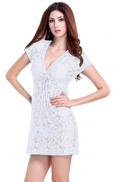 White Ladies V Neck Short Sleeve Lace Sheer Plain Beach Dress