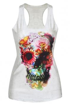 White Cool Ladies 3D Flower Skull Printed Tank Top