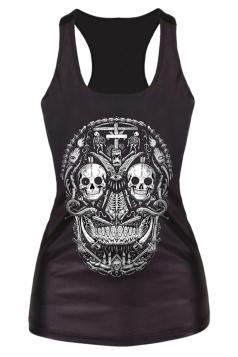 Black Scary Ladies Skull Snake 3D Printed Tank Top