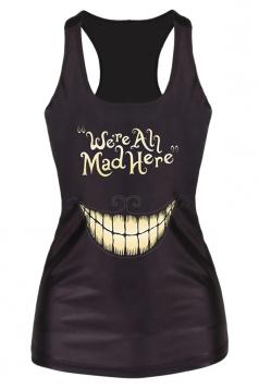 Black Ladies 3D Smile We Are All Mad Here Printed Tank Top