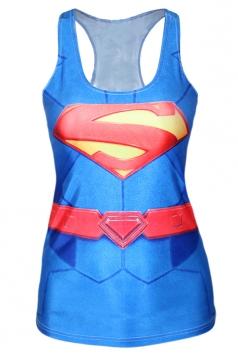 Blue Trendy Womens Crew Neck Superman Printed Tank Top